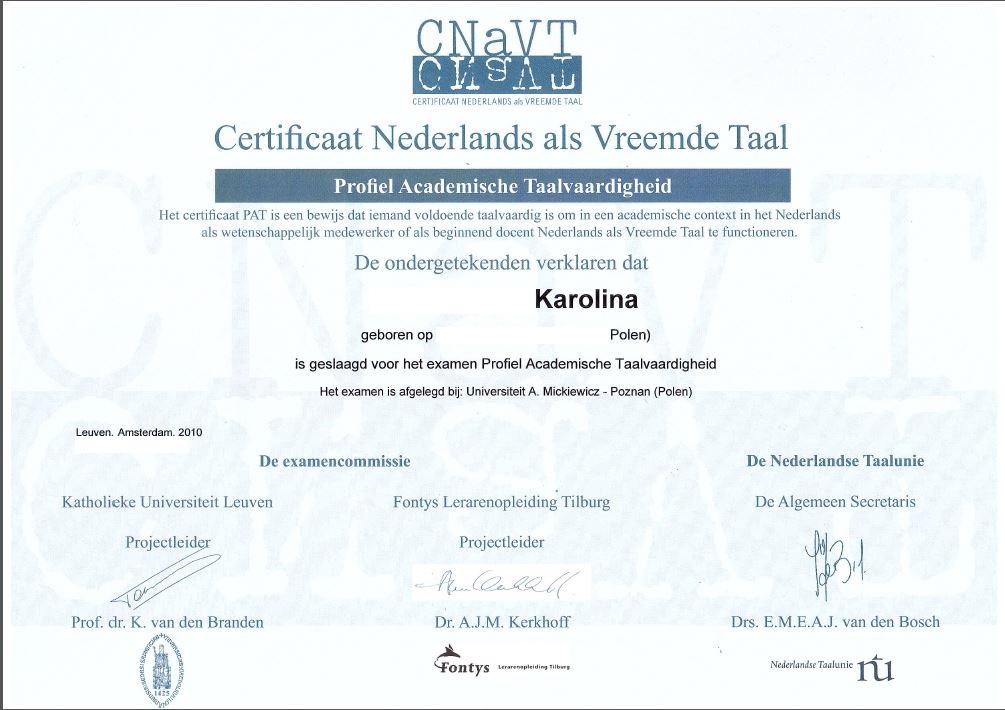 niderlandica, certyfikat cnavt, cnavt pat, holenderski, niderlandzki